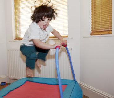 Little boy on trampoline